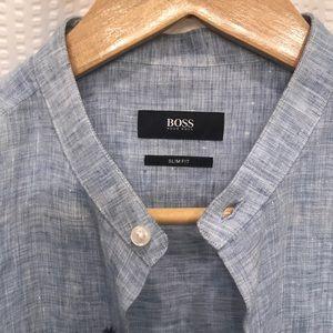 5c3431bec Hugo Boss Shirts - Hugo Boss Jordi linen light blue men's button down